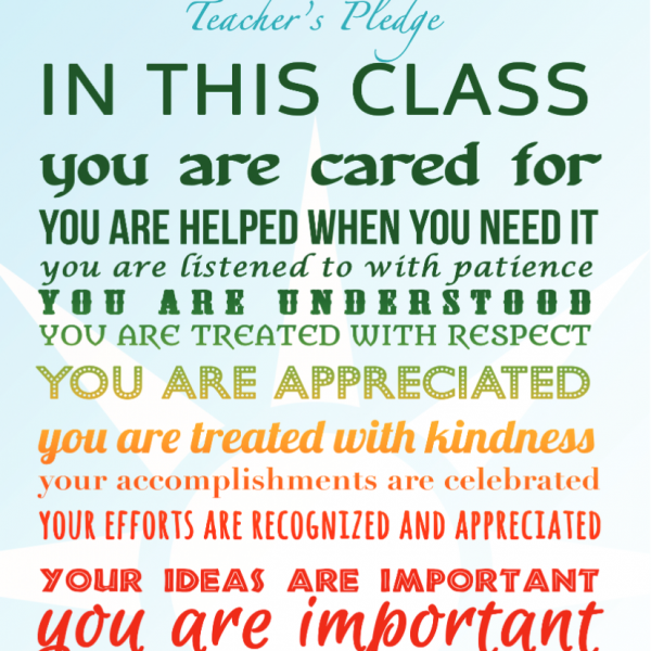 "FREE POSTER DOWNLOAD ""A Teacher's Pledge"""